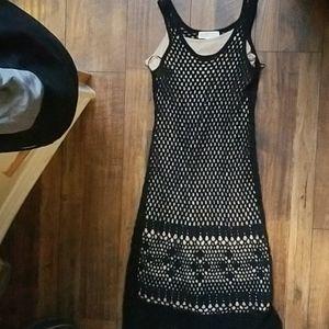 Sz S Michael kors crochet black nude dress midi
